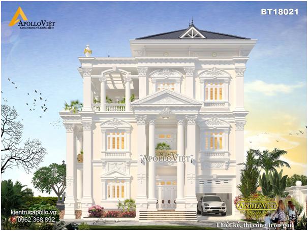 Thiết kế biệt thự kiểu Pháp với đặc trưng mái vòm cầu kỳ và hệ thống trụ cột vuông