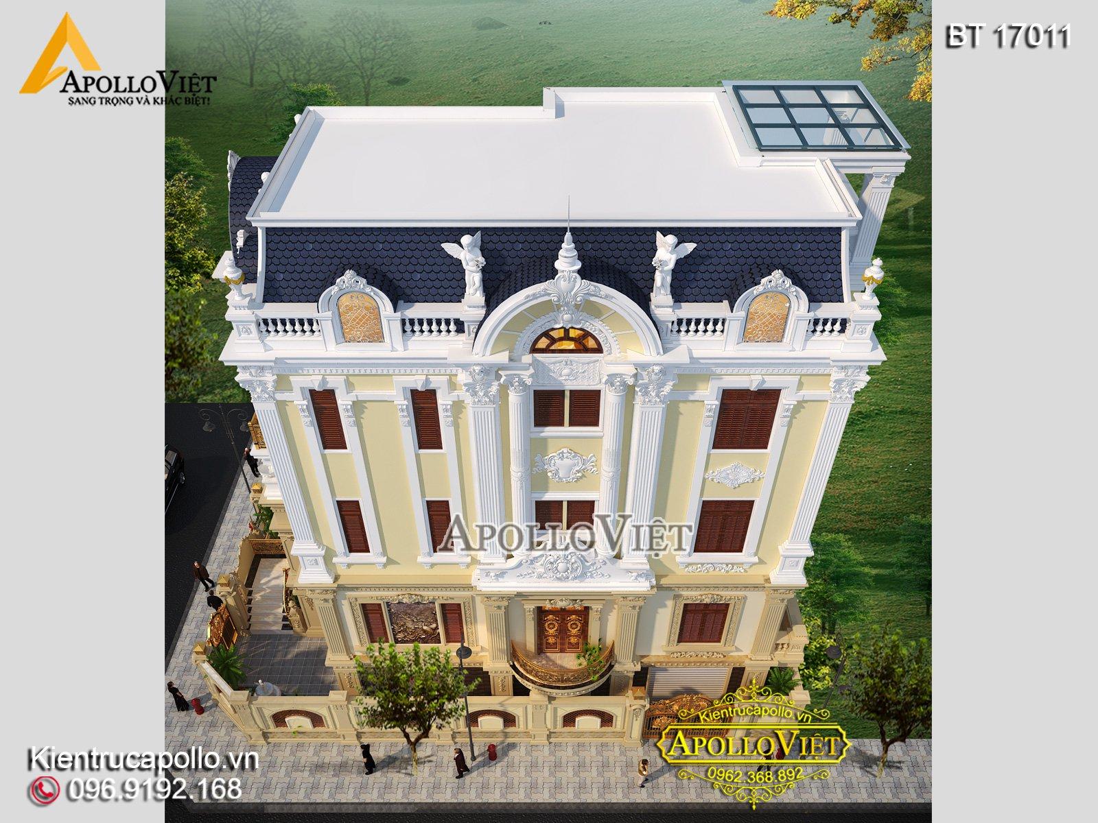 Phối cảnh mặt bên thiết kế biệt thự cổ điển nhìn từ trên cao